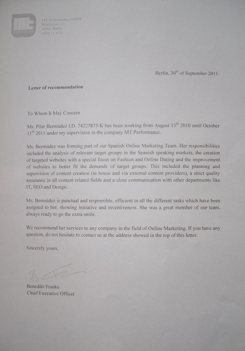 Carta de recomendación MT Performance